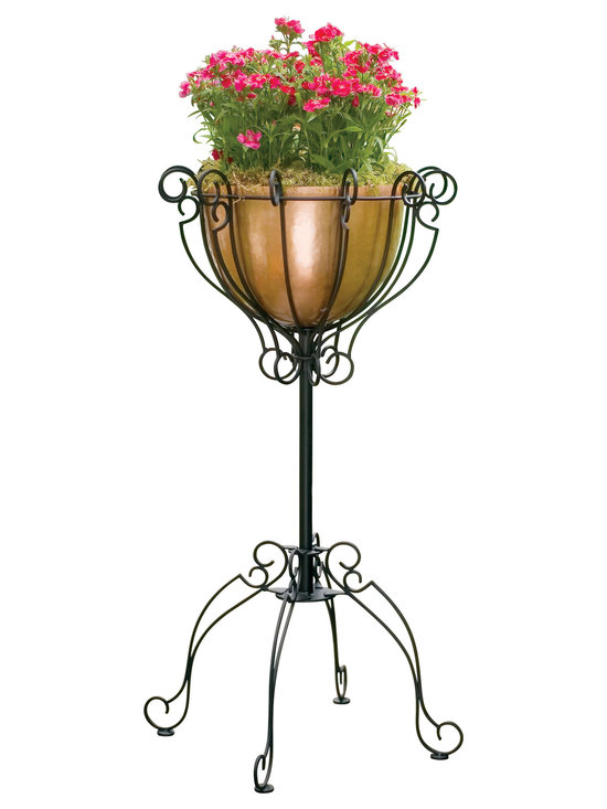 H Potter - Pole Planter - Let the good times roll. This French Quarter style planter has scrolls and flourishes galore, thanks to curvy dark powder-coated iron. And it's sure to elevate your plants to Garden District status with a simple copper bowl to hold your plants in big and easy style.