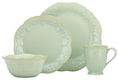 Lenox French Perle Ice Blue 4 Piece Place Setting modern-dinnerware-sets