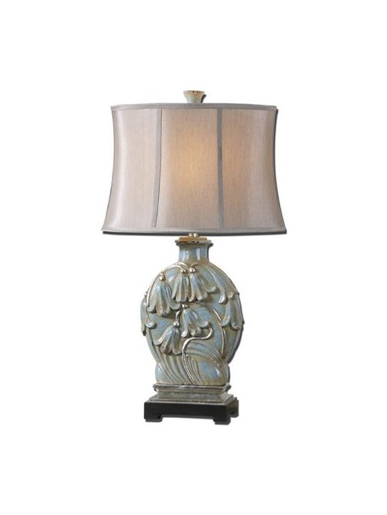 Uttermost Melezzo - Decorative ceramic base finished in a crackled light blue glaze with a rust glaze and silver leaf details. The oval semi drum shade is a silken taupe champagne linen fabric.