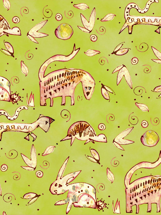 Daybreak Beasty Chartreuse Designer Fabric - Whimsical beasties, rabbits, turtles, leaves, dots and swirls on tone on tone to mix & match. Perfect for tabletop, bedding, curtains, children's and more