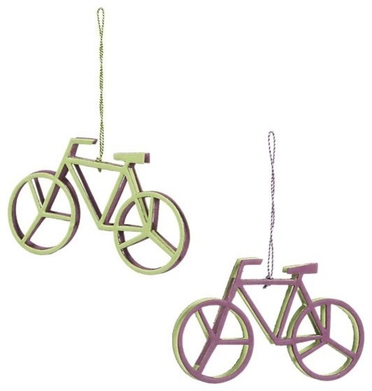 Set of 2 Recycled Paper Bicycle Ornaments modern-christmas-ornaments