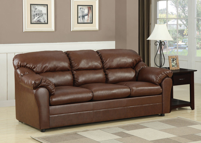 Connell Brown Bonded Leather Match Sofa Sleeper