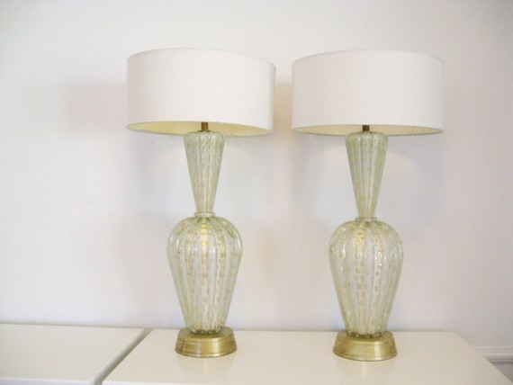 50s Modern Hollywood Regency White Murano Gold Fleck Table Lamp by Fabulous Mess modern-table-lamps