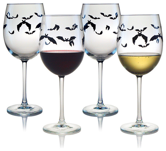 Halloween Bats Wine Glasses (Set of 4) - Contemporary - Holiday Drinkware - by Overstock.com
