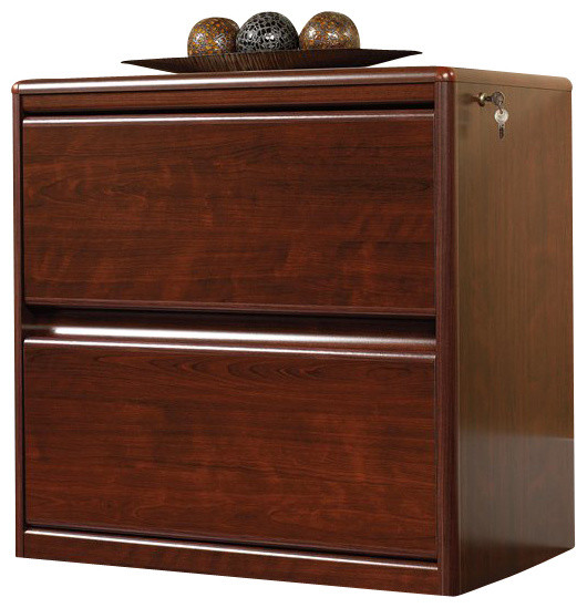 Sauder Cornerstone 2-Drawer Lateral Wood File Cabinet in Classic Cherry - Transitional - Filing ...