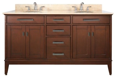 Avanity Madison 60-in. Tobacco Double Bathroom Vanity with ...