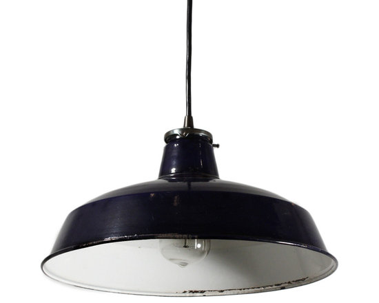 "Antique & Vintage Industrial Lighting - A marvelous vintage industrial one light chandelier, originally salvaged from Detroit, MI. The pendant has a simple canopy and fitter connected by a black cord; Below is a shallow shade with royal blue enamel on top and white porcelain underneath. This light is in very good antique condition; it has been professionally wired the shade has a few chips, as shown, which do not detract from the beauty of the fixture. It comes with all the necessary attachments for modern installation and would be perfect for any industrial or contemporary-style space. The fixture measures 14"" wide, 7-1/2"" tall, and 32"" long overall."