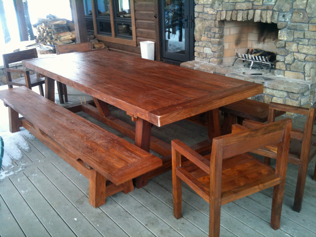 Reclaimed Teak Patio Dining Table, 4 x 10 x 3 thick traditional outdoor tables
