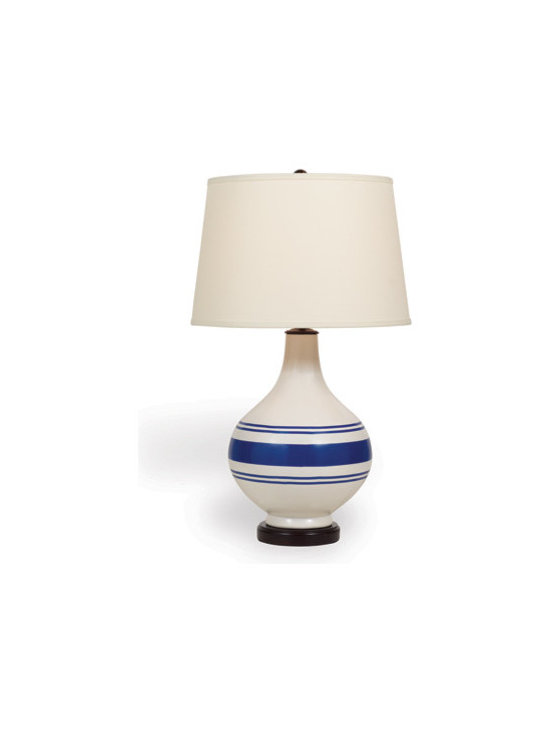 Ridgewood Navy Lamp - The modern organic shape and classic striped pattern in navy and cream makes this neutral lamp a standout for its style. Off white, Hardback shade with nickel spider.