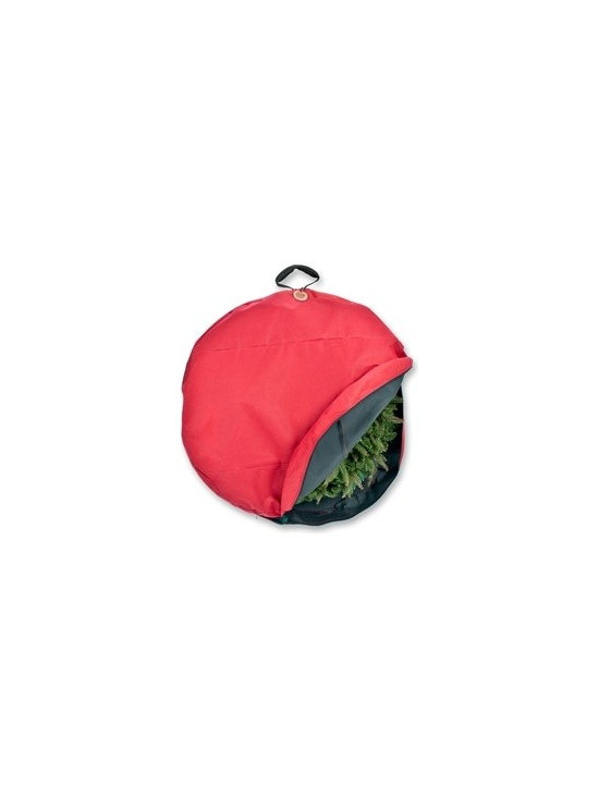 "36"" Santa's Wreath Storage Bag with Suspend Handle - To keep your delightful door wreath looking just as magnificent as the day you bought it, we present you with our 36"" Wreath Storage Bag with Suspend Handle from the Santa's Bags collection. This red wreath storage container features a direct suspend system for maintaining your wreath's lovely shape. Carefully zip up your wreath in our red polyester wreath storage bag, and hang it in an ideal spot to await the next holiday season in comfort and safety."