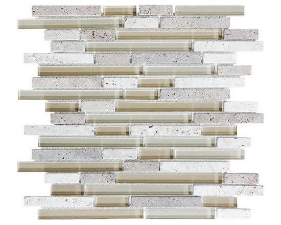 F10 Dunes Linear Glass Stone Blend Mosaics - • Length: 12""