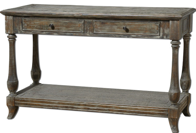 Mardonio Distressed Wood Rustic Console Table