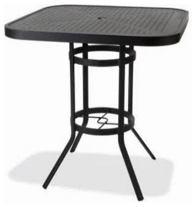Winston 36 in. Square Stamped Aluminum Bar Height Table with Umbrella Hole modern-dining-tables