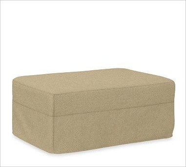 Solano Slipcovered Ottoman, Polyester Wrap Cushions, everydaysuede(TM) Oat traditional-ottomans-and-cubes