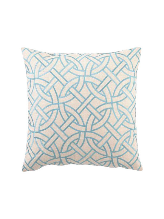 """Peking Handicraft - Peking Handicraft Circle Link Embroidered Pillow, Turquoise - Modern design gets smart with the interlocking puzzle pattern of this hand crafted pillow. The simple, contemporary graphic is a versatile home accent. The pillow is made with linen with embroidered detail. It measures 20"""" X 20"""" and features a feather-down insert. This pillow is dry clean only."""