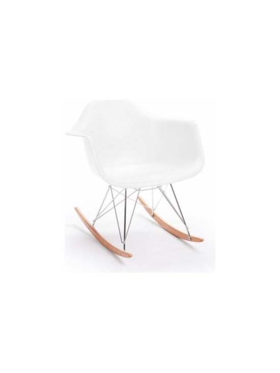 Eames Style Molded Plastic Rocker - RAR in Matte White by Rove Concepts -
