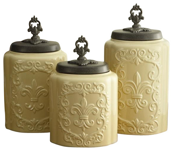 antique fleur de lis cream canister set traditional