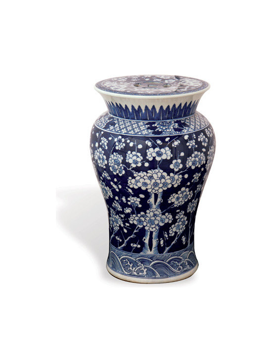 Sakura Garden Stool - This asian garden stool comes in an elegant curved shape adorned with an intricate blue floral design. Use as an accent table, an ottoman or for additional seating!