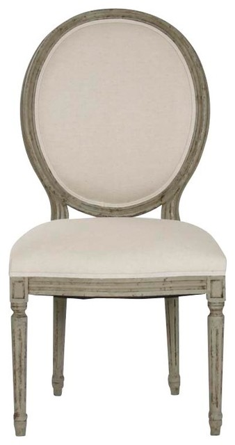 Medallion Side Chair, Off-White, Olive Green traditional-dining-chairs