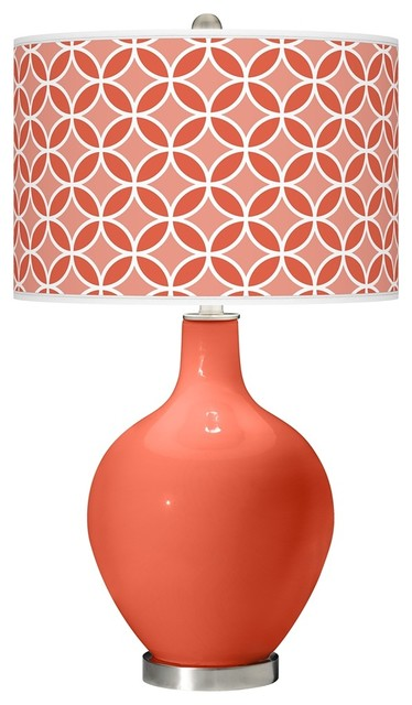 Contemporary Daring Orange Circle Rings Ovo Table Lamp contemporary-table-lamps