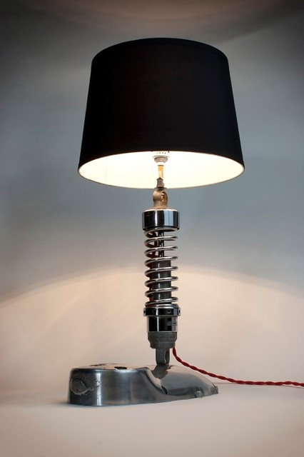 Wonderful Industrial Up Cycled Motorcycle Table Lamp Table Lamps