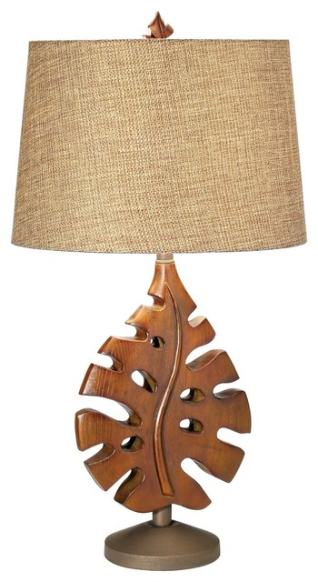 Contemporary national geographic philodendron table lamp for Tropical floor lamp with table
