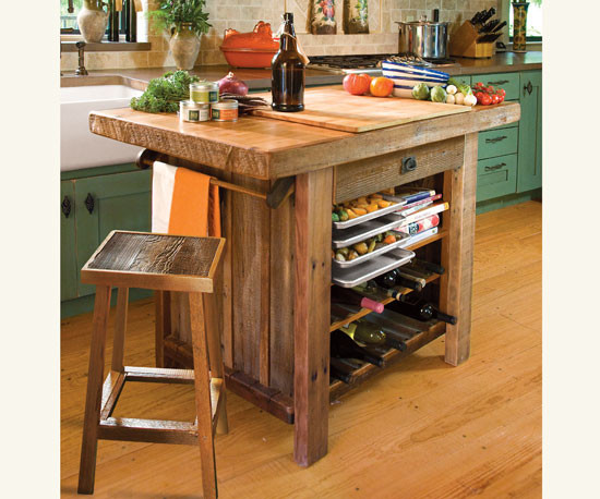 American Barn Wood Kitchen Island - traditional - kitchen islands