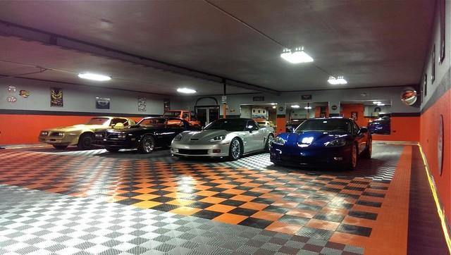 Mega home garage with racedeck garage flooring some cool for Cool garage floors