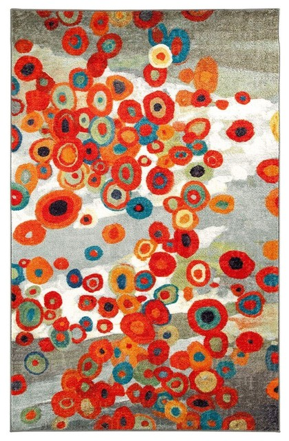 Contemporary Tossed Floral Rectangle Multicolor Area Rug