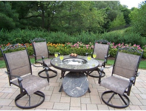 Oakland Living Stone Art 44 in Deep Seating Chat Set with Swivel Chairs and