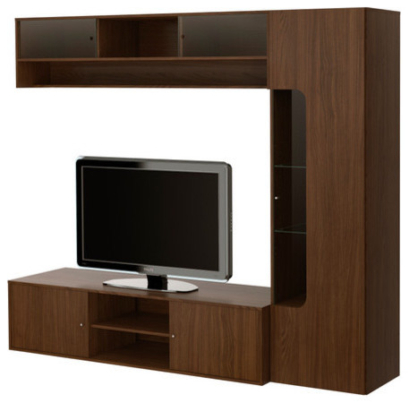 FOLKVIK TV bench with storage modern media storage