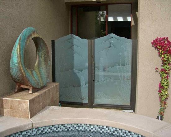 "Glass Gate - Ocotillo & Saguaro Cactus by Sans Soucie - Glass Courtyard Gates - ""Ocotillo & Saguaro Cactus"""