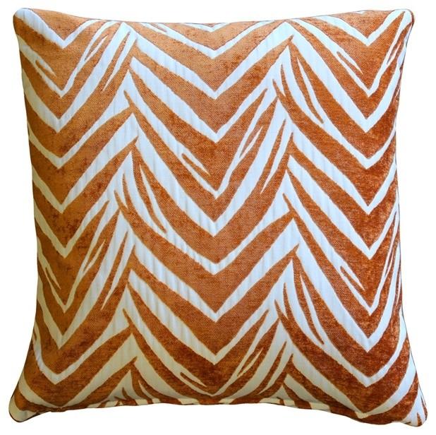 Pillow Decor - Samba Orange 20 x 20 Throw Pillow contemporary-pillows