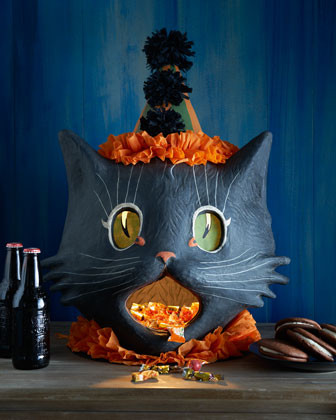 Bethany Lowe Large Sassy Cat Halloween Candy Bowl traditional-holiday-decorations