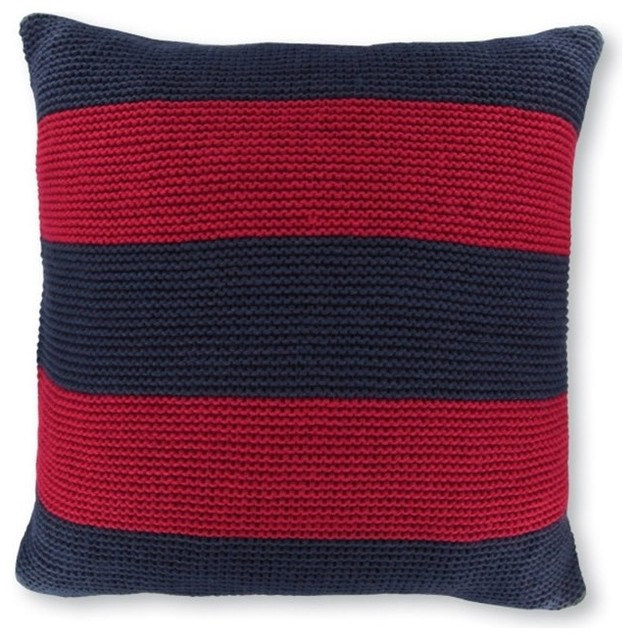 Nautica Crew Striped Knit 18 in. Decorative Pillow - Navy/Red Multicolor - 20043 - Contemporary ...