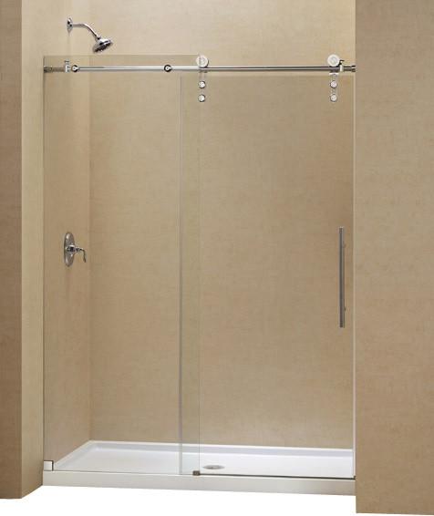 DreamLine Enigma-Z Fully Frameless Sliding Shower Door and SlimLine contemporary-shower-doors