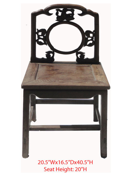 "Chinese Antique Ming Style Solid Red Wood SuanZhiMu Chair - This is a Chinese antique Ming style Chair which is made of solid red wood also called ""SuanZhiMu"". Especially, the back has nice peach carving on it, which represents longevity in Chinese culture."
