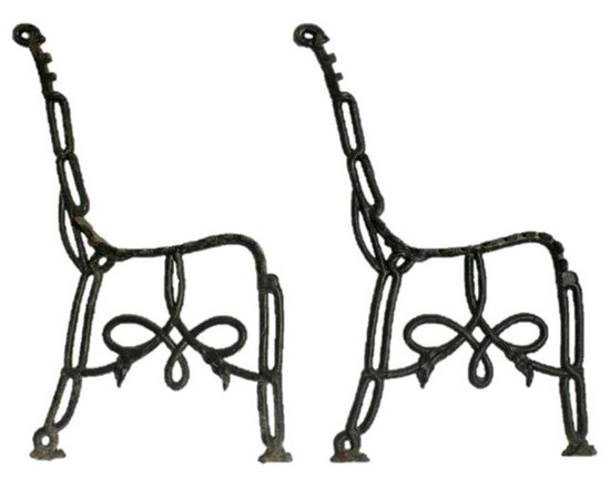 Biedermier Iron Bench - Cast iron Biedermier park bench parts. These interesting and rare iron end pieces can be made into a park bench with the addition of wood slates.This bench can be made to match your decor and to your specifications of length depending on material choice.