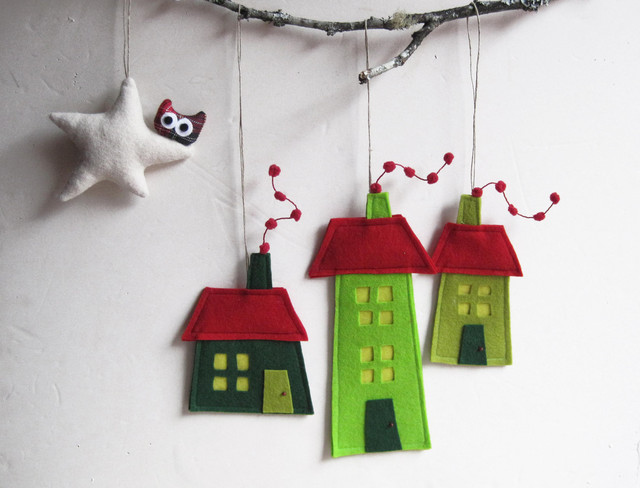 Felt christmas house ornament by intres contemporary for Contemporary ornaments for the home
