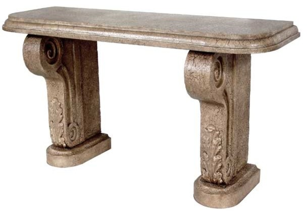 Cast Stone Console Base (2 Pedestals) - mediterranean - side
