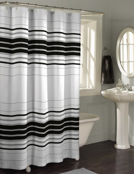 horizontal stripe fabric shower curtain contemporary. Black Bedroom Furniture Sets. Home Design Ideas