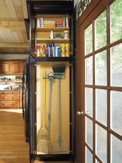 Diamond Shallow Depth Utility Cabinet With Broom Loops