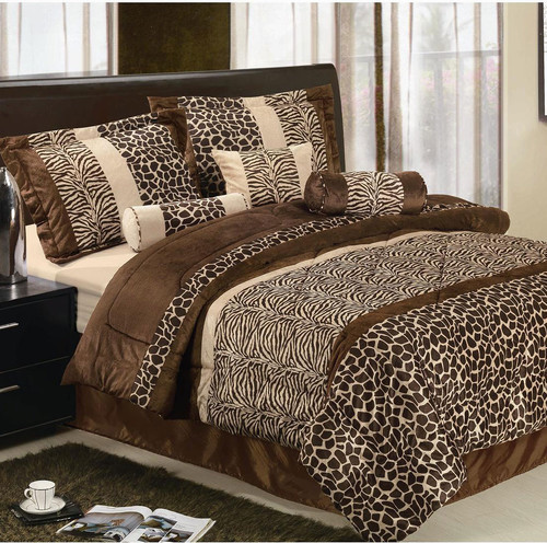 Safari Micro Fur Bed in a Bag Set in Brown modern-beds