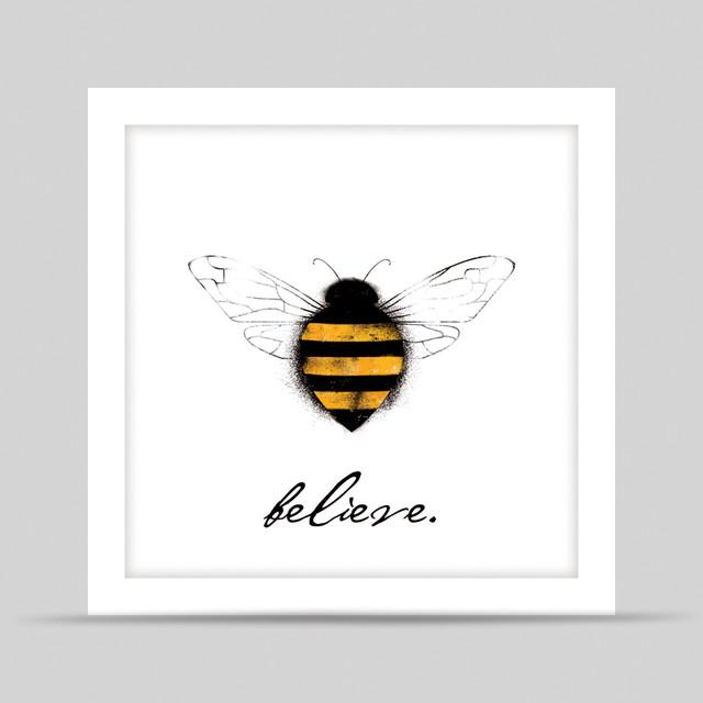White Bee Believe Framed Art Print contemporary-artwork