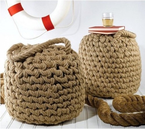 Seafarer's Rope Ottoman eclectic-footstools-and-ottomans