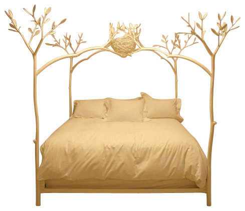 Twig Bed With Bird Nest White Queen Farmhouse Beds