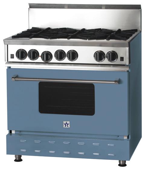 36 BlueStar Range In Piegeon Blue RAL 5014 Modern Gas Ranges And