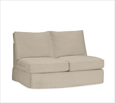 PB Comfort Square Armless Love Seat Slipcovers, Twill Parchment traditional-chairs