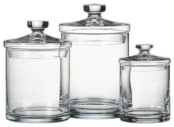set of 3 glass canisters modern food containers and