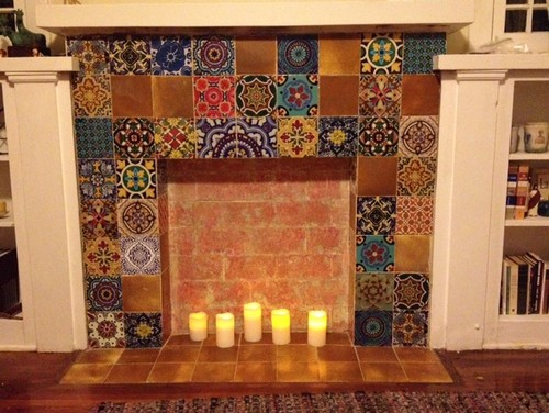 Fireplace tile decal